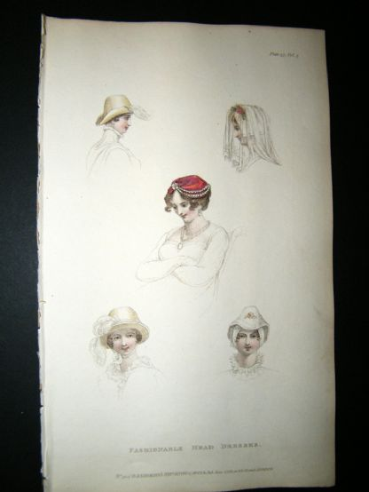 Ackermann 1811 Hand Col Regency Fashion Print. Fashionable Head Dresses 5-37 | Albion Prints